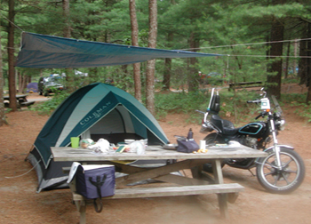 Camping Fearings Pond with Kawasaki 440 - www.Motorcycles123.com